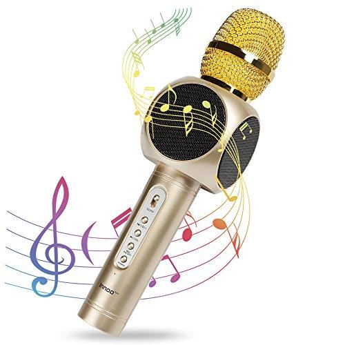 Microphone Sans Fil Karaoké, Innoo Tech 4 en 1 Micro Karaoké Bluetooth, 2 Haut-Parleur Stéréo Intégré, Compatible avec Android/IOS/PC/Smartphone (Or) Pour KTV Fête Mariage