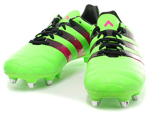 adidas Ace 16.3 Sg J Leather, Chaussures de Football Mixte Bébé Sgreen/Shopin/Cblack