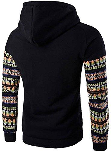 jeansian Herren Casual Ethnic Style Hooded Pullover Hoody Hoodies Sweatshirt Sports Top 88F7 Black