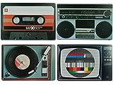 Bada Bing 4er Set Tischset Hifi Geräte Retro Look Plattenspieler Testbild Ghettoblaster Kassette