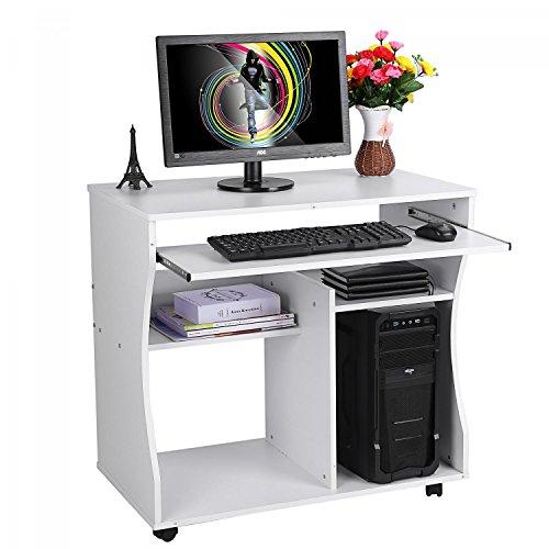 Scrivania porta pc tavolo per ufficio computer scaffale ripiani computer,con ripiano tastiera,mini ufficio con ruote,postazione di lavoro dotata di mensola,86*76*54 cm (bianco)