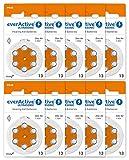 everActive 13, 60 Stück, Hörgerätebatterien, hohe Leistung, Zink-Luft-Batterien, 10 Blisterkarten, 4-jährige Haltbarkeit, orange, Ultrasonic PR48