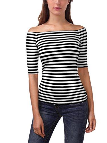 EA Selection Damen T-Shirt Schulterfrei Carmen-Shirt Bluse Tops Weiß & Schwarz M (Gestreiftes T-shirt)