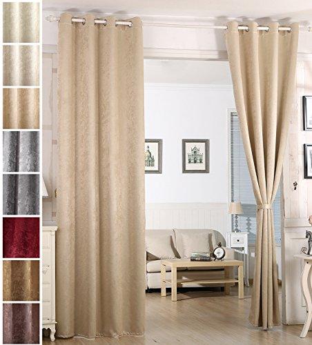 Woltu vh5883ch-b tenda oscurante tende drappeggio occhielli metallo finestra soggiorno parete 100% poliestere tessuto stampato termica isolante pesante giallo chiaro 135x245 cm