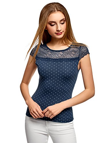 oodji Ultra Damen Tailliertes T-Shirt mit Spitzeneinsatz, Blau, DE 40/EU 42/L