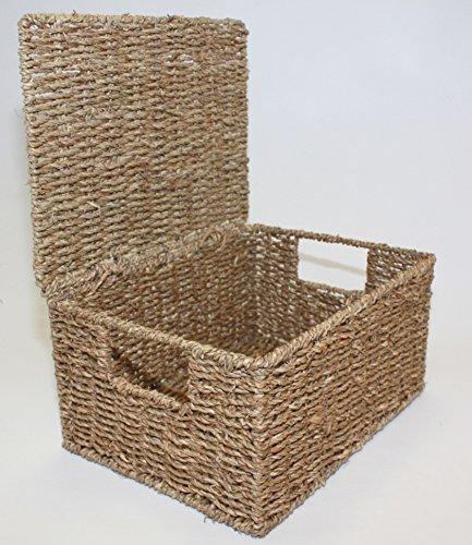 Home-ever natürlichem Seegras, Länglich Aufbewahrungskörbe Box behindern mit Deckel, 18cm H x 36cm W x 28cm D (Seegras-boxen)