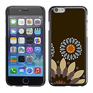 Omega Covers - Snap on Hard Back Case Cover Shell FOR Iphone 6/6S (4.7 INCH) - Flower Pattern Brown Wallpaper