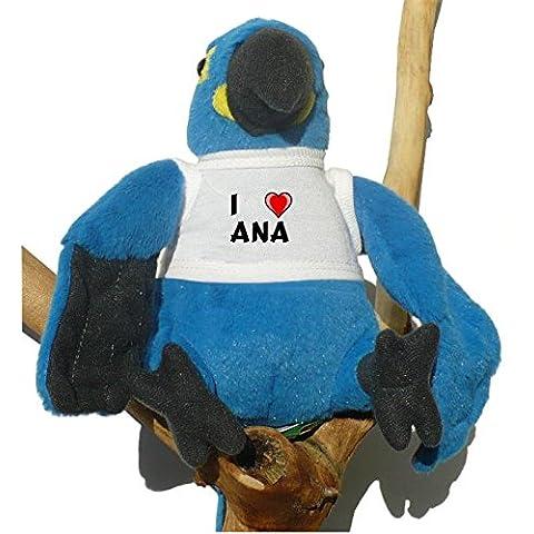 Loro azul de peluche con Amo Ana en la camiseta (nombre de pila/apellido/apodo)