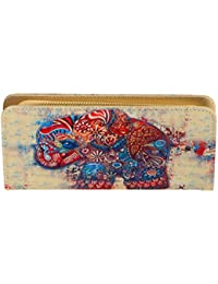 Stripes Women Ethnic Style Elephant Printed Zip Around Clutch Wallet Large Travel Purse For Women/Girls