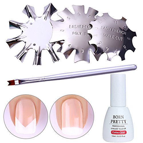 Born Pretty French Nail Design Kit-3Pcs Edge Cutter Stencil Trimmer,French Brush and Pink French Jelly Coat