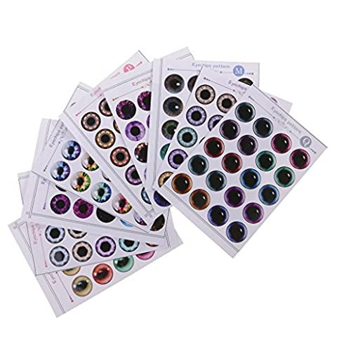 Gazechimp 9 Blätter DIY Puppen Ersatz Augen Fischaugen Ohne UV-Kleber für 12'' Blythe Puppe DIY Herstellung - Durchmesser: 9mm - # B