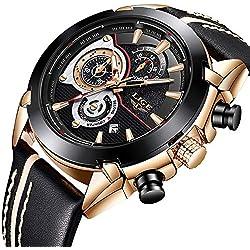 Relojes para Hombre, Reloj de Cuarzo Reloj de Pulsera de Cuero Moda LIGE Analógico Cronógrafo Negocio Lujo Impermeable Casual Multifunction Deportes Militares Dial Negro Hombres