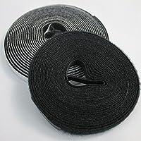 Nastro di fissaggio 5m per tessuto in fibra di vetro/zanzariera–autoadesivo ganci Band + Velcro per un fissaggio sicuro, Nero