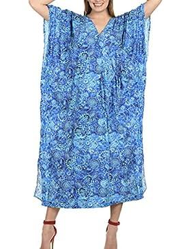La Leela lunghe donne vestito kaftano allentato casuale beachwear del costume da bagno kimono coprire nero