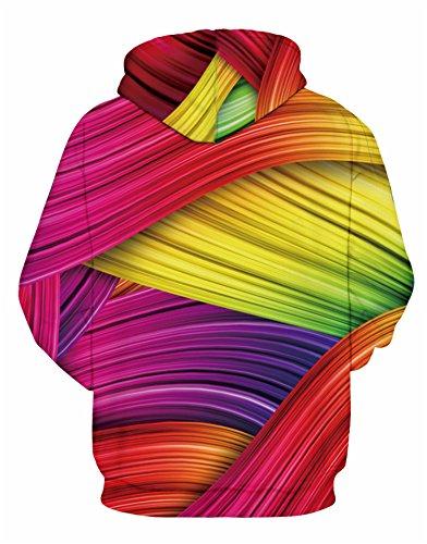 Nawoshow Unisex 3D Druck Kapuzenpullover Hoodie Sweatshirt Langarm Top Shirt Herbst Spaß Pullover für Männer und Frauen Color Bar