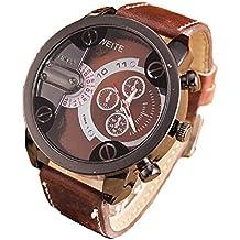 Relojes Hombre,Xinan Análogos de Lujo Deporte Caja Acero del Cuero Cuarzo Reloj Pulsera (Marrón)