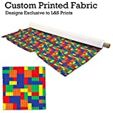 Bunt Bausteine Design Digitaldruck Stoff gestrickt Jersey