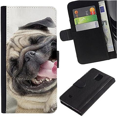 Pug Happy Smiling Dog Pet Canine Fawn - la tarjeta de Crédito Slots PU Funda de cuero Monedero caso cubierta de piel Samsung Galaxy Note 4 IV