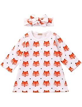 Bestanx Baby Kleinkind Mädchen Fuchs Kleid 2PCS Kleid + Stirnband Outfits Set