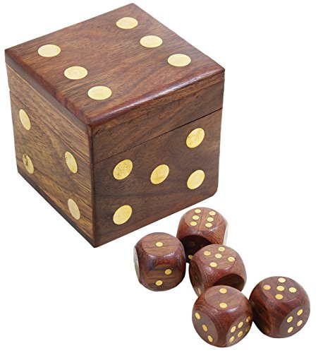 SKAVIJ 5 Pezzi Dadi da Gioco in Legno Fatti a Mano Dadi cubo d6 con Scatola di immagazzinaggio per tenzi, farkle, yahtzee, Bunco o insegnamento Matematica
