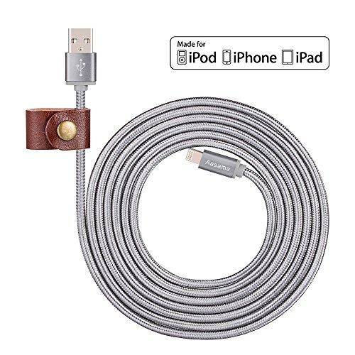 Cavo lightning, Aasama 4pezzi in nylon intrecciato 8pin Lightning a USB cavo caricatore di sincronizzazione cavo per iPhone 7/7Plus/6/6Plus/6s/se/5/5S/5C/iPad/iPod (1M, 1m, 2m, 2m) Gery