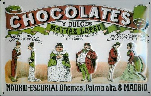 Affiche-mtallique-avec-chocolates-dulces-y-matias-lopez-madrid-chocolat-metal-plaque-rtro