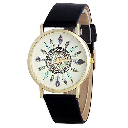 Fandecie Para mujer de la vendimia de la pluma india cuero del dial del análogo de cuarzo de relojes de pulsera único del pavo real del reloj de señoras (negro)