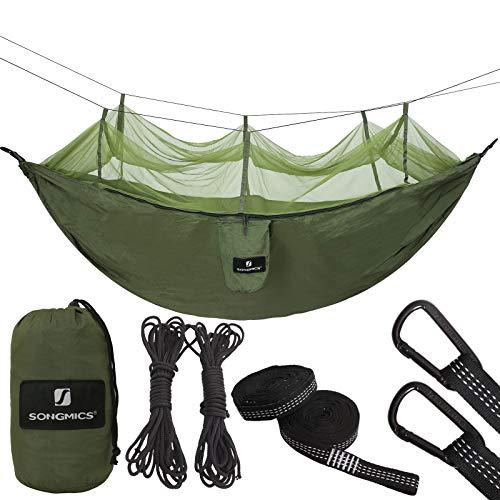 SONGMICS Ultraleichte Camping Hängematte mit Moskitonetz, aus Fallschirm Nylon Schnell Trocknende Atmungsaktiv, mit Premium Befestigung, für Reise Garten Outdoor GDC14AG