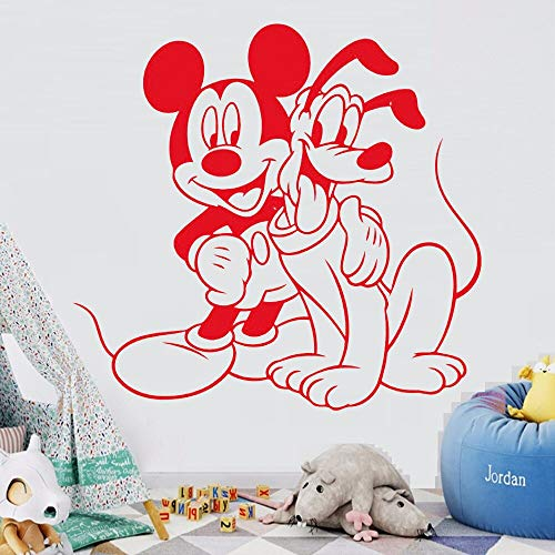 HNXDP Schöne Vinyl Wandtattoo Zitat Nette Maus und Pluto Cartoon Home Interior Mädchen Jungen Kinderzimmer Kunst Dekoration Wandbild Poster WL146 42X40 CM