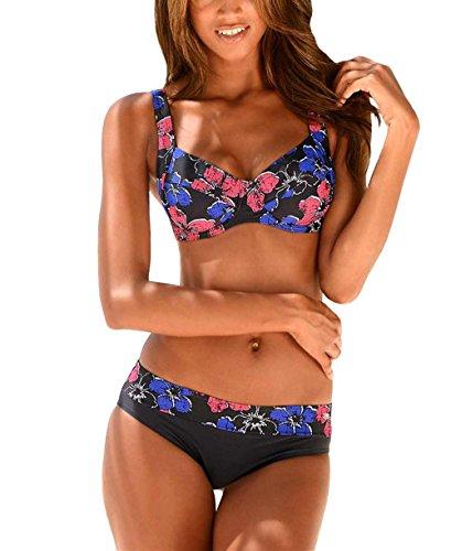KangaROOS Marken-Bügel-Bikini anthrazit-bunt Größe 36 D-Cup