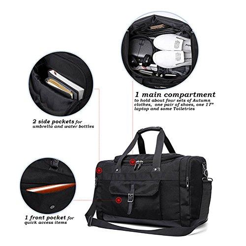 Weimi Vintage Reisetasche Nylon Weekender Tasche Großräumige Handtasche für Damen und Herren Wasserresistent (Schwarz) Schwarz