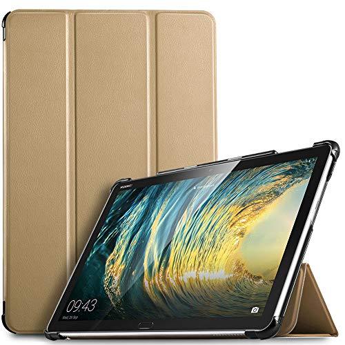 IVSO Hülle für Huawei MediaPad M5 Lite 10, Ultra Schlank Slim Schutzhülle Hochwertiges PU mit Standfunktion Perfekt Geeignet für Huawei MediaPad M5 Lite 10 10.1 Zoll 2018 Modell, Gold
