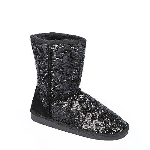 Ideal Shoes–Stiefelette Pailletten Melyssa Schwarz - Schwarz