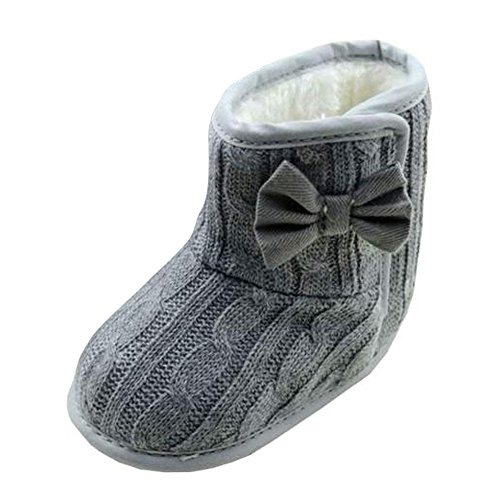 Jungen Bowknot weiche Sohle Winter warme Stiefel baby shoes Luckygirls (0-6 Monate (11cm), Grau) (Eule Sachen Für Mädchen)