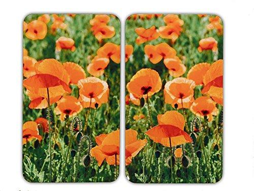 Wenko 2521434500 Herdabdeckplatte Universal Mohnfeld - 2er Set, für alle Herdarten, Gehärtetes Glas, 30 x 1.8-4.5 x 52 cm, Mehrfarbig