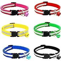 YHmall 6er Reflektierendes Katzenhalsband mit Glocke - Nylon, Schnalle, Verstellbar 20–30 cm, Coole Halsbänder für Hauskatzen, kleine Hunde
