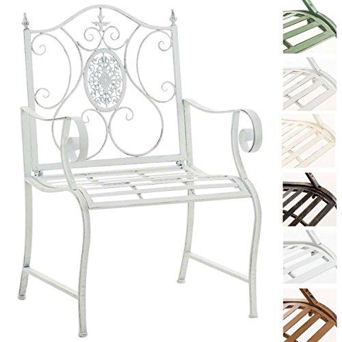 CLP Lackierter Eisen-Gartenstuhl Punjab mit Armlehne I Outdoor-Stuhl im Landhausstil I in Verschiedenen Farben erhältlich Antik Weiß