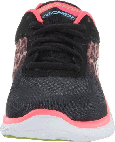 Skechers Flex Appeal Serengeti, Chaussures de fitness femme Noir (Noir/Rose)