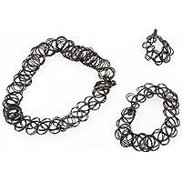 Gosford - Set di braccialetto, anello e collana girocollo effetto tatuaggio con motivo tribale, gipsy, boho, colore nero, Metallo, colore: Jewellery Sets, cod. B00NXEAGHW