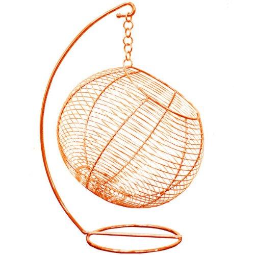 Corbeille à fruits Boule suspendue Orange Métal acier inoxydable Bazardeluxe
