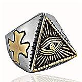 Epinki Acero Inoxidable Anillos de Hombre Ojo Pirámide Horus Triángulo Anillos para Hombre Charme Anillos de la Amistad Oro Talla 22