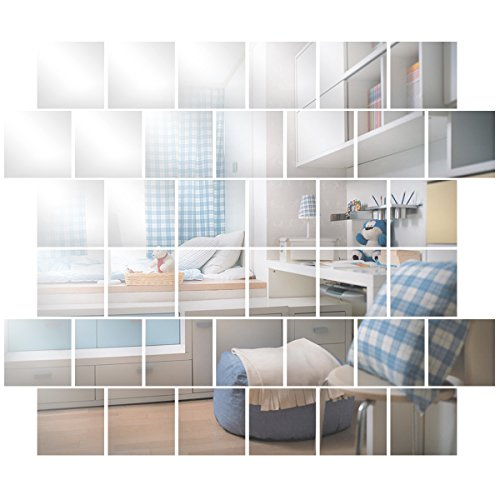 32 piece Mirror Tile Wall Sticker 3D Decal Mosaic Room Decor Stick On Modern