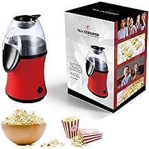 hLix CORNPOP - Máquina de palomitas con aire caliente en 3 minutos 1.100W Libre de grasa y aceite, para unas palomitas libres de grasas - Incluye 10 bolsas para palomitas - ROJO