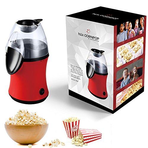 hLix CORNPOP - Heißluft-Popcornmaschine in nur 3 Minuten 1100W ohne Fett und Öl, für frisches, fettfreies Popcorn - inklusive 10 Popcornschachteln - ROT