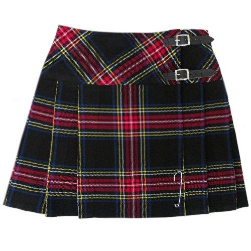 """Tartanista - Mini kilt a quadri 42cm (16.5"""") - Tartan plaid nero - EU42 UK14"""