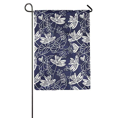 momnn Small Water Lilies Flower Summer Porch Yard House Garden Flags Semi Transparent Polyester Fiber Banners 12x18 inches -