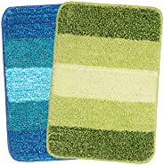 Saral Home Turquoise & Green Soft Microfiber Anti-Skid Bath Mat (Pack of 2, 35x50