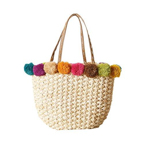 OURBAG Borsa da spiaggia borsetta Sacchetto di spalla di vacanza del cestino di paglia Beige Beige