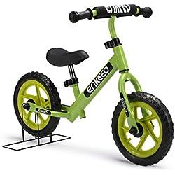 """ENKEEO - 12"""" Bicicleta sin Pedales, Bicicleta Infantil de Equilibrio (para 2~6 Años Niños, Marco de Acero Carbón, Manillar y Asiento Ajustables, Capacidad 50kg, Alta Resistencia) (Azul)"""