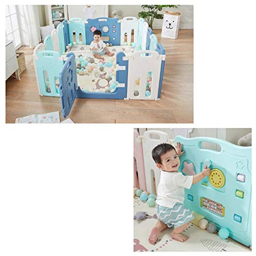 Baby Playpen HUYP Baby Fence Play Area Foldable Crawling Toddler Fence Home Children's Indoor (color : Blue, Size : 108 * 108cm)  HUYP